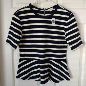 Gap Navy & White Striped Peplum Shirt Sz M